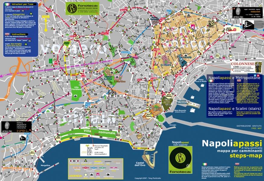 Cartina Turistica Napoli Centro.Nasce Napoli A Passi La Prima Mappa Che Misura Le Distanze In Passi
